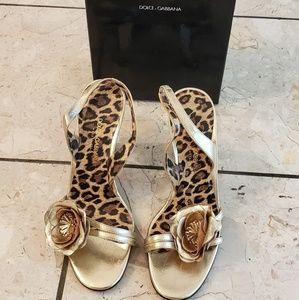 Dolce &Gabbana gold leather slingbacks